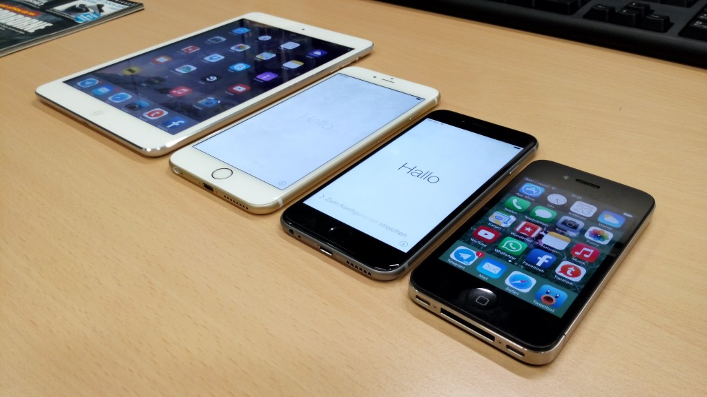 Größenvergleich: iPad mini, iPhone 6 Plus, iPhone 6 und iPhone 4 (v.l.n.r.) // Quelle: Autor